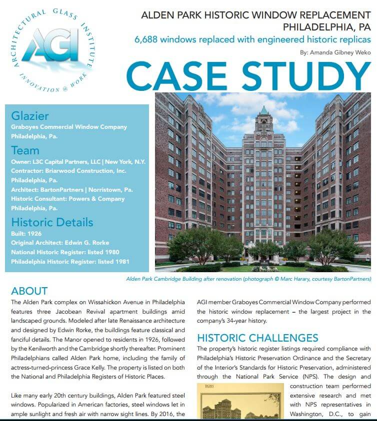 Architectural Gl Insute Case Study Features Our Replacement Of 6 688 Historic Windows At Philadelphia S Alden Park Graboyes Commercial Window
